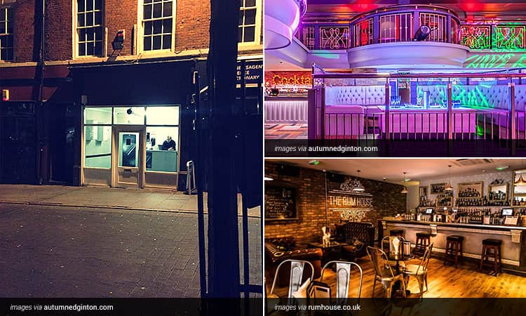 Three tiled images - the exterior of Boilermaker, and the interiors of Pryzm and Rum House