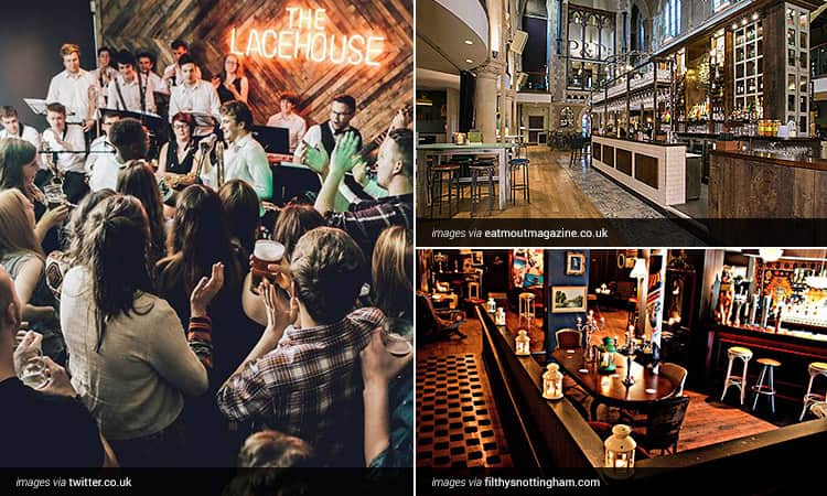 Three tiled images of a band and crowd at The Lacehouse, and the interiors of Pitcher and Piano and Flithy's Nottingham