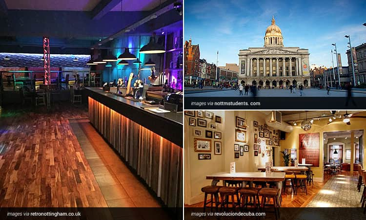 Three tiled images - the interior of Retro Rooms Nottingham and Revolucion de Cuba Nottingham and the exterior of Nottingham Council House