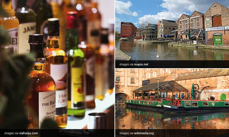 Three tiled images - a close up of whisky bottles on a back bar, two green narrow boats moored by a building and the exterior of multiple large Canal Front buildings