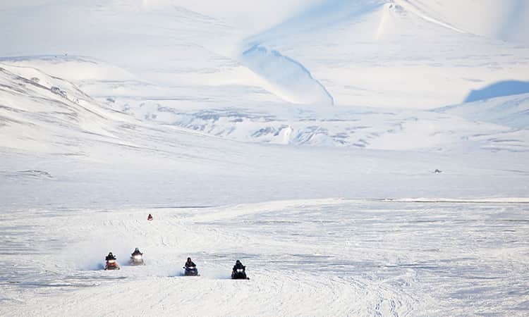 Group of snowmobiles in a fully snow covered landscape.
