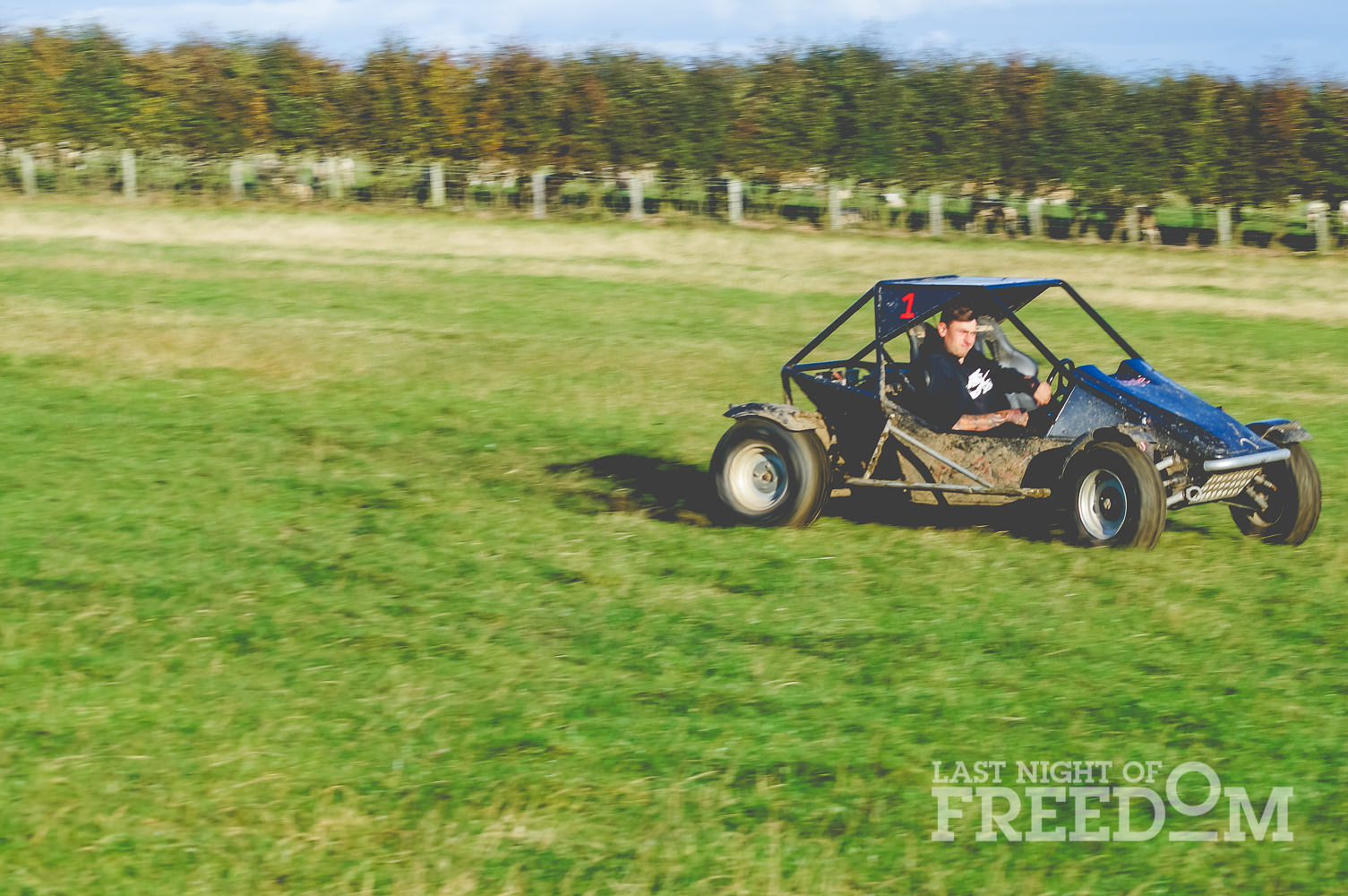 A rage buggy in a field