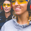 Two girls wearing ear and eye protection
