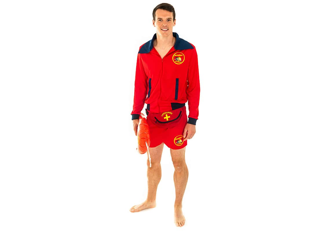 man in a Baywatch lifeguard costume