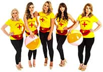 five sexy female lifeguards with beach balls