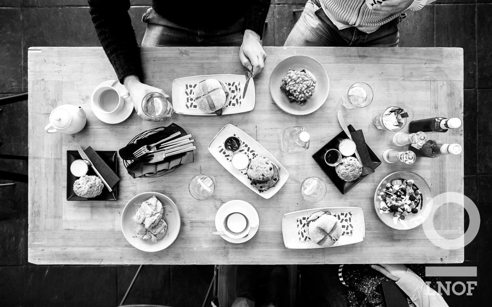 Black and white aerial shot of hangover breakfasts at Baltic Kitchen in Newcastle Gateshead