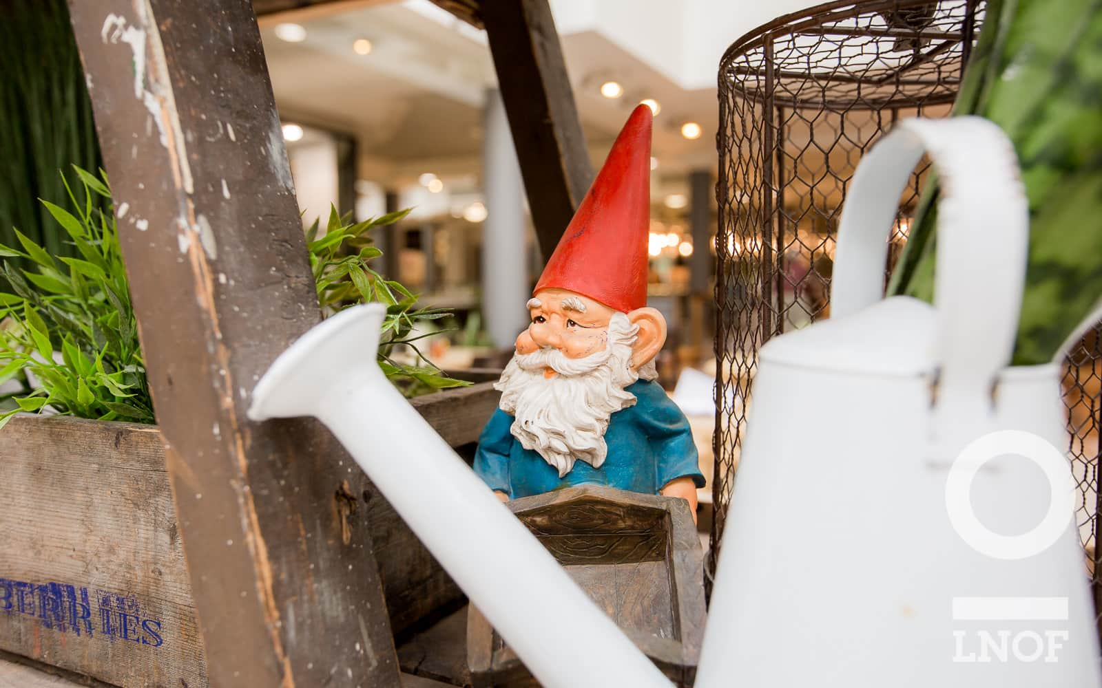 Garden gnome and watering can at Garden Kitchen in Newcastle upon Tyne