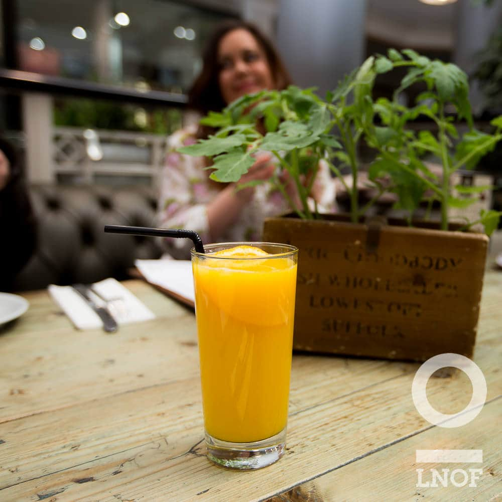 Glass of orange juice at Garden Kitchen in Newcastle upon Tyne