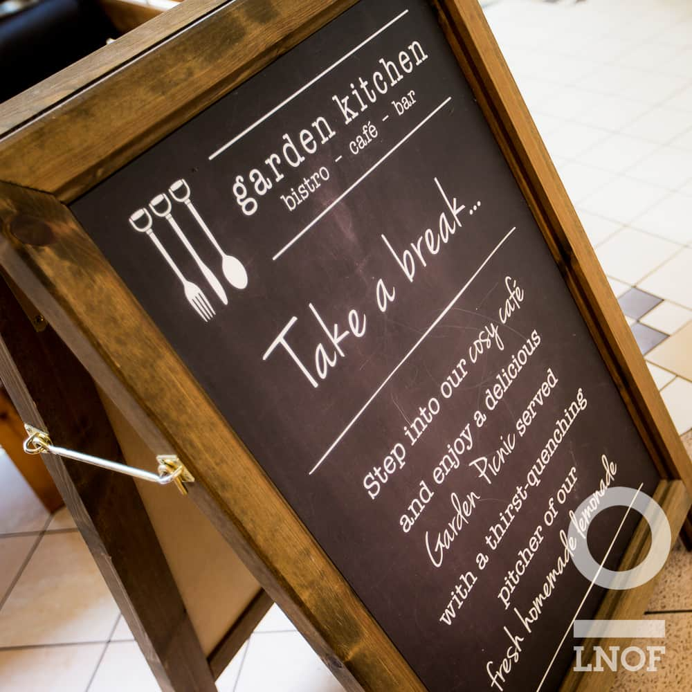 Blackboard welcome at Garden Kitchen in Newcastle upon Tyne