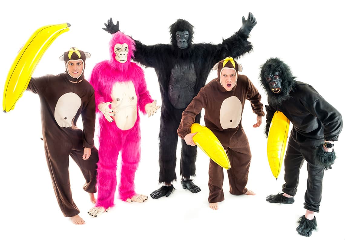 stag group dressed as a black gorilla, a neon pink gorilla and a three little monkeys