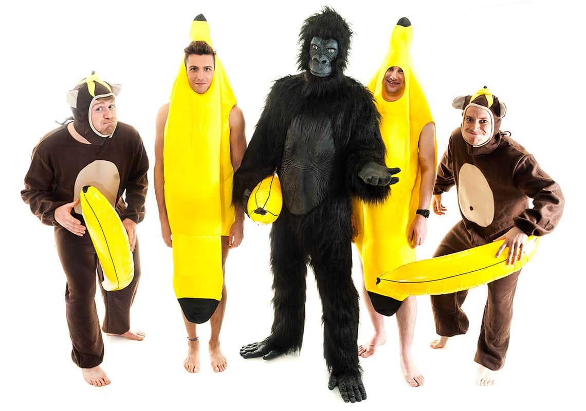 stag group dressed as one gorilla, two monkeys and two bananas