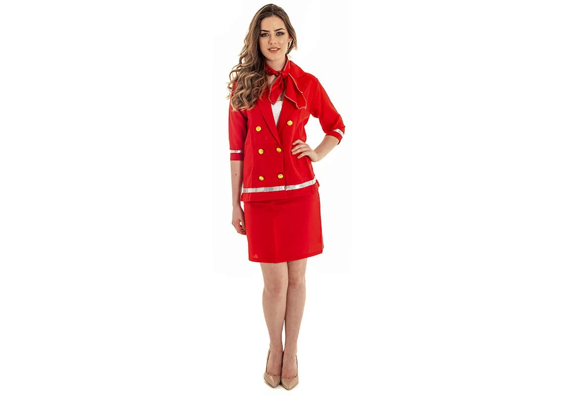 sexy air hostess in red figure-hugging outfit