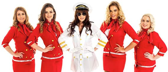 a sexy pilot and four sexy air hostesses in tight red uniforms