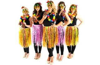 five sexy women dressed as Hawaiian hula girls
