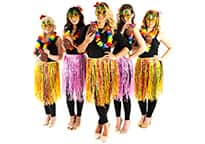 five sexy hula goddesses wearing pineapple sunglasses