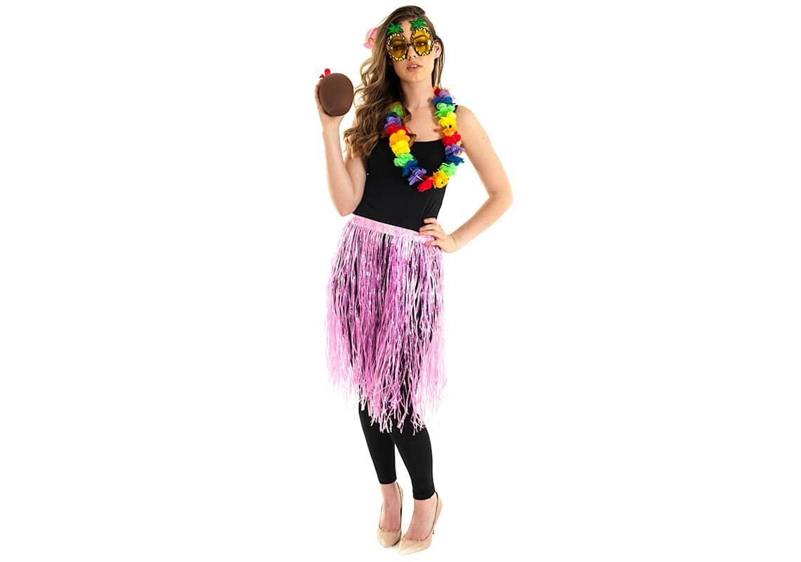 sexy hula girl drinking from a coconut