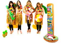 four gorgeous hula girls with inflatable accessories