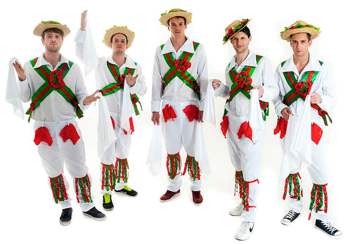 group of five stags dressed as morris dancers