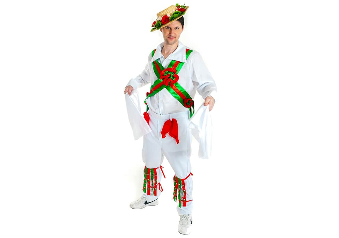 one man dressed as a morris dancer