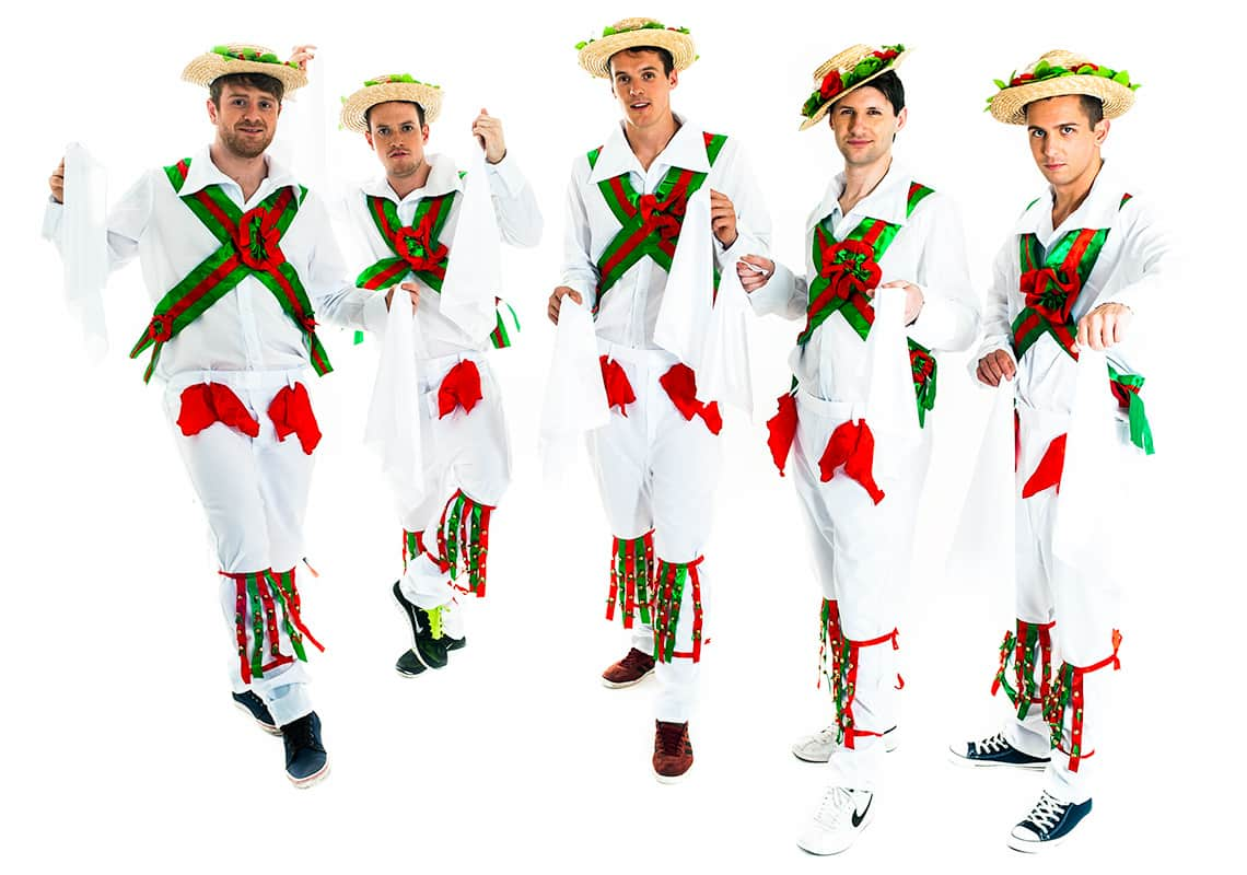 a stag group dressed as traditional morris dancers
