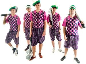 Five men in pub golf costumes, with visors and golf clubs