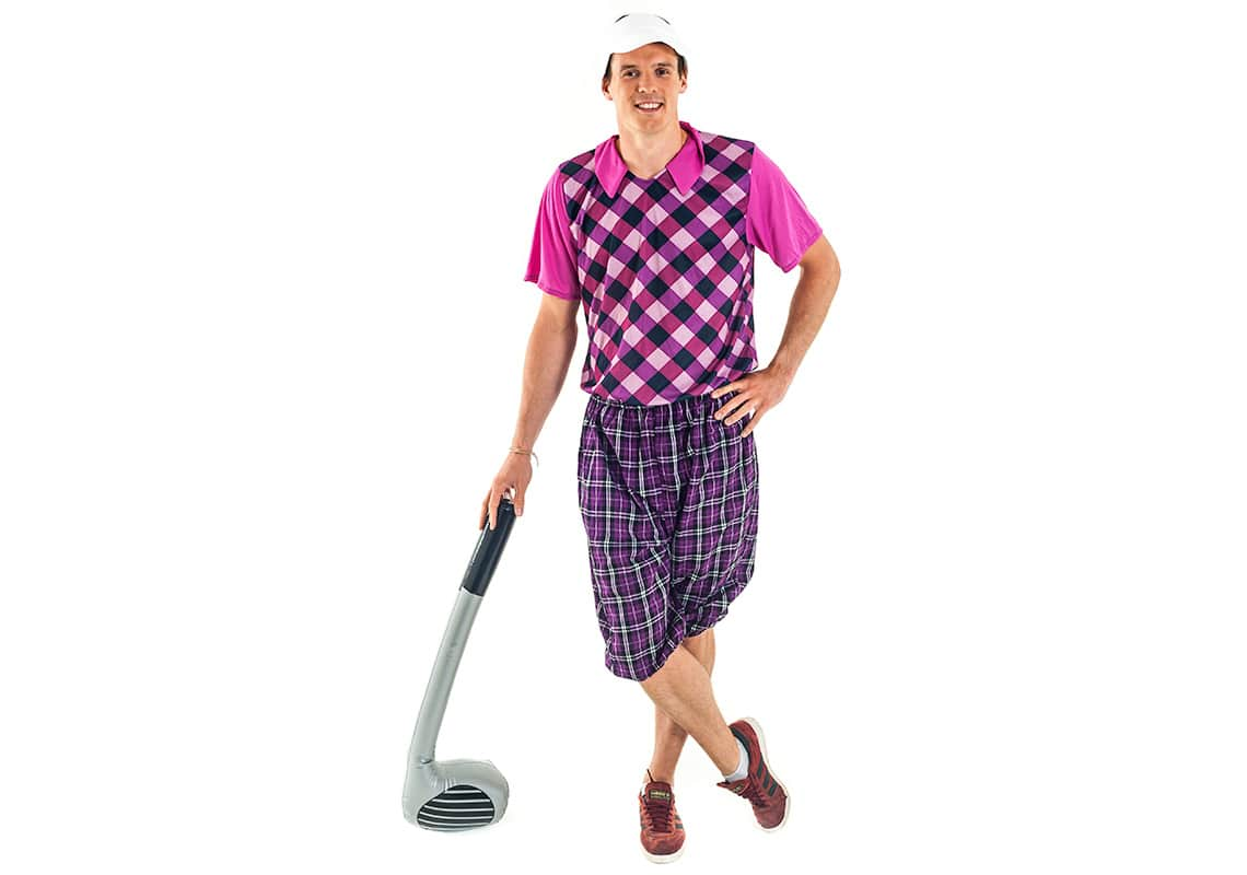 man dressed in comedy golf clothes and leaning casually on an inflatable golf club
