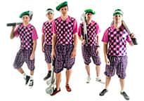 stag group wearing golfing gear and berets that look like AstroTurf