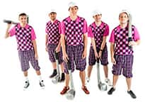 five men wearing purple golf gear and white visas