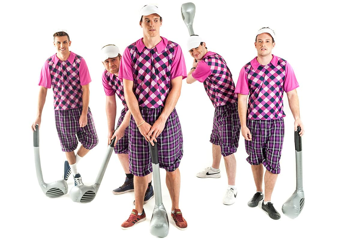stag group dressed as golfers, messing about with inflatable golf clubs