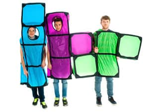 Three men in Tetris costumes