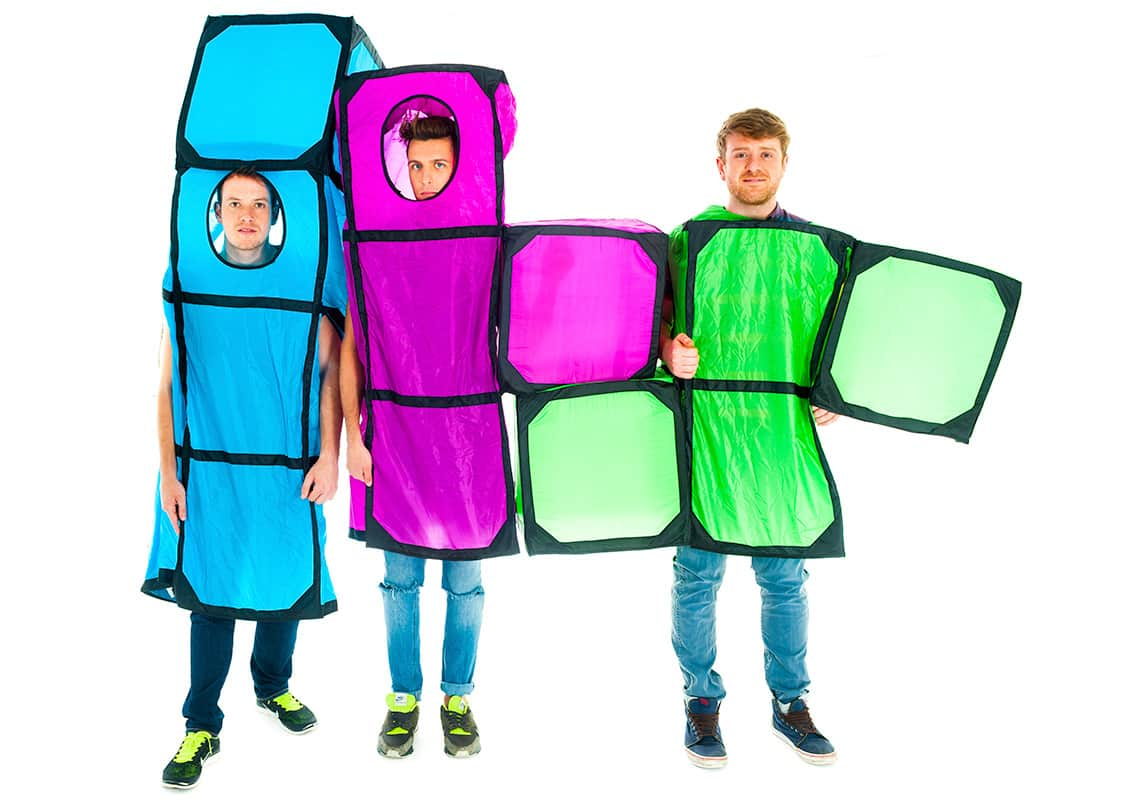 Three stags dressed as Tetris pieces fitting together in a line