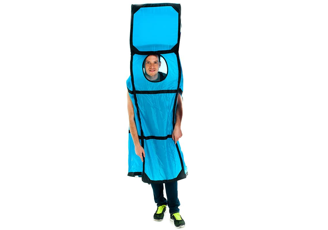 A man dressed as a giant blue Tetris piece