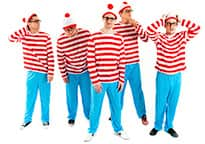a stag group dressed as Where's Wally looking lost