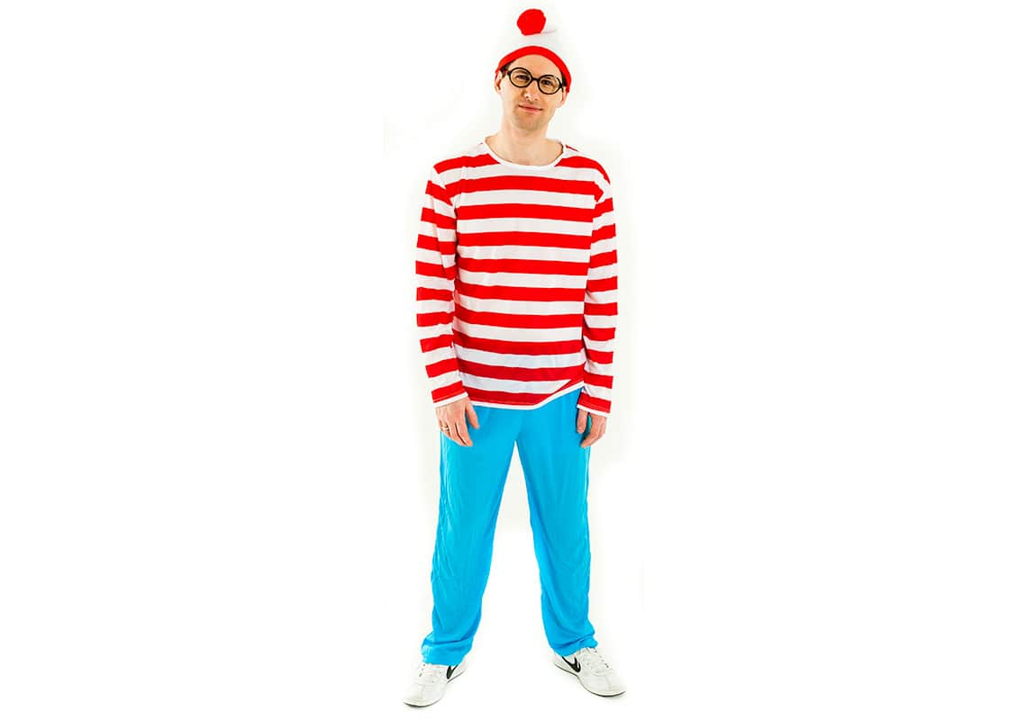 a man dressed as Where's Wally