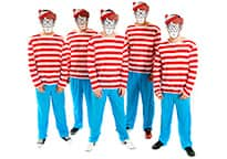 a group of men dressed in Where's Wally costumes and masks