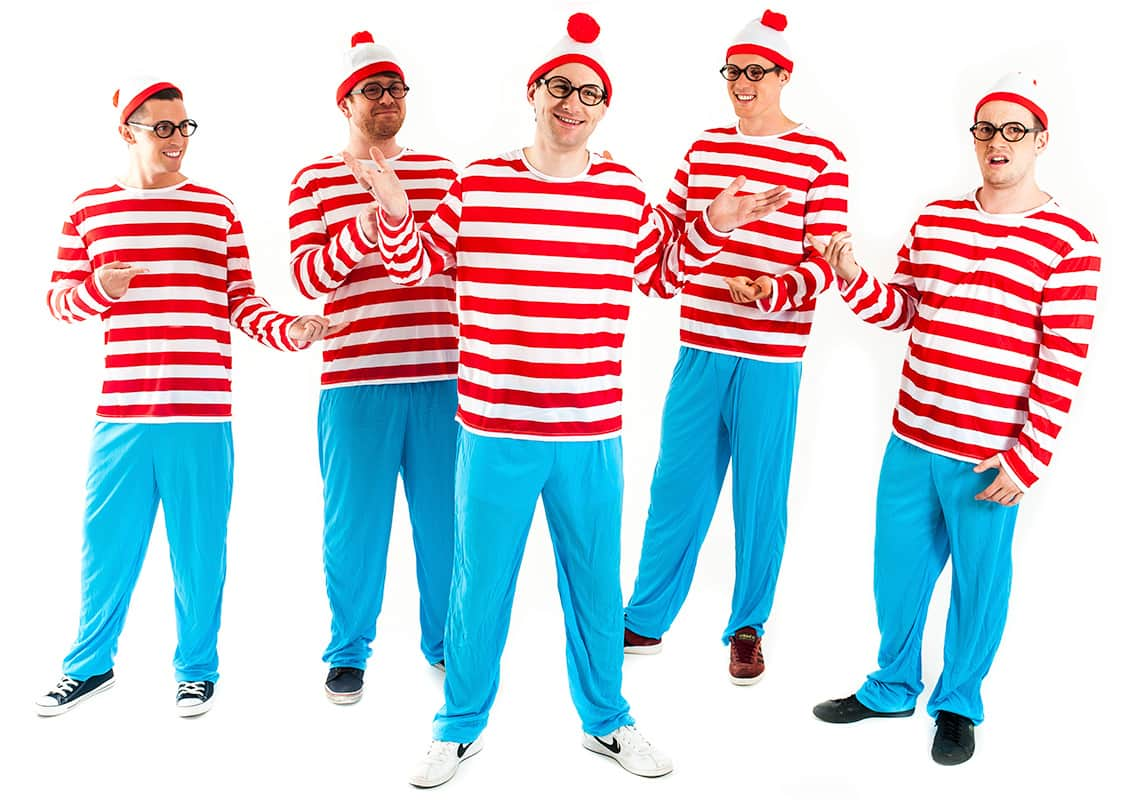 A stag group dressed as Where's Wally looking like they've just found him