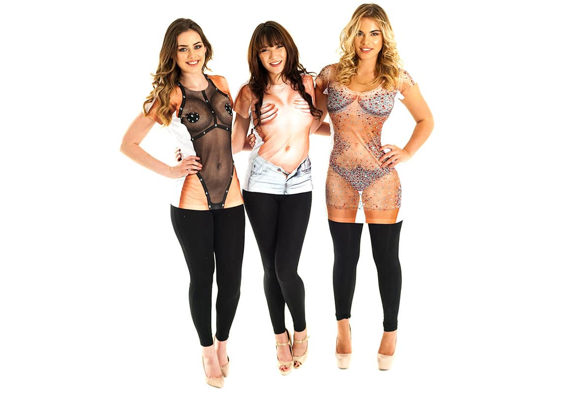 three girls in sexy faux real t-shirts