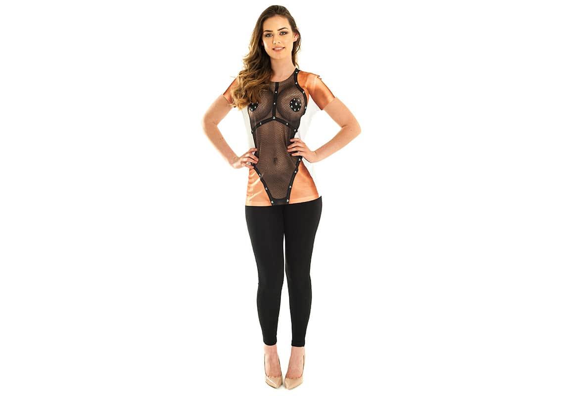 woman in sexy bondage t-shirt