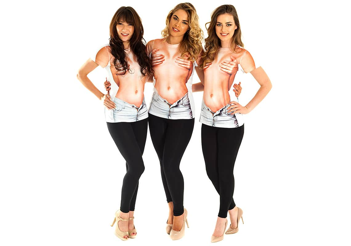 three women in sexy topless t-shirts