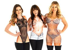 three women in sexy t-shirts that are designed to look like skimpy outfits