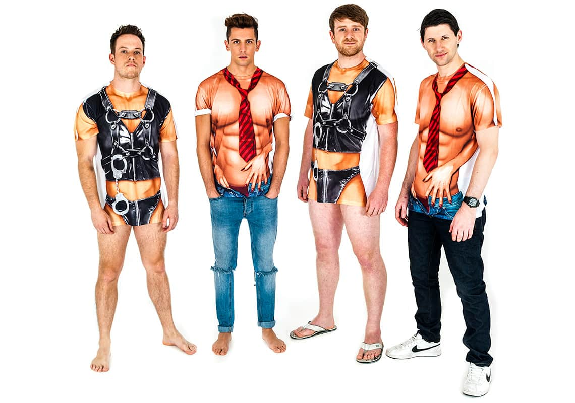 Men wearing T-shirts that look like leather bondage gear or topless with a tie