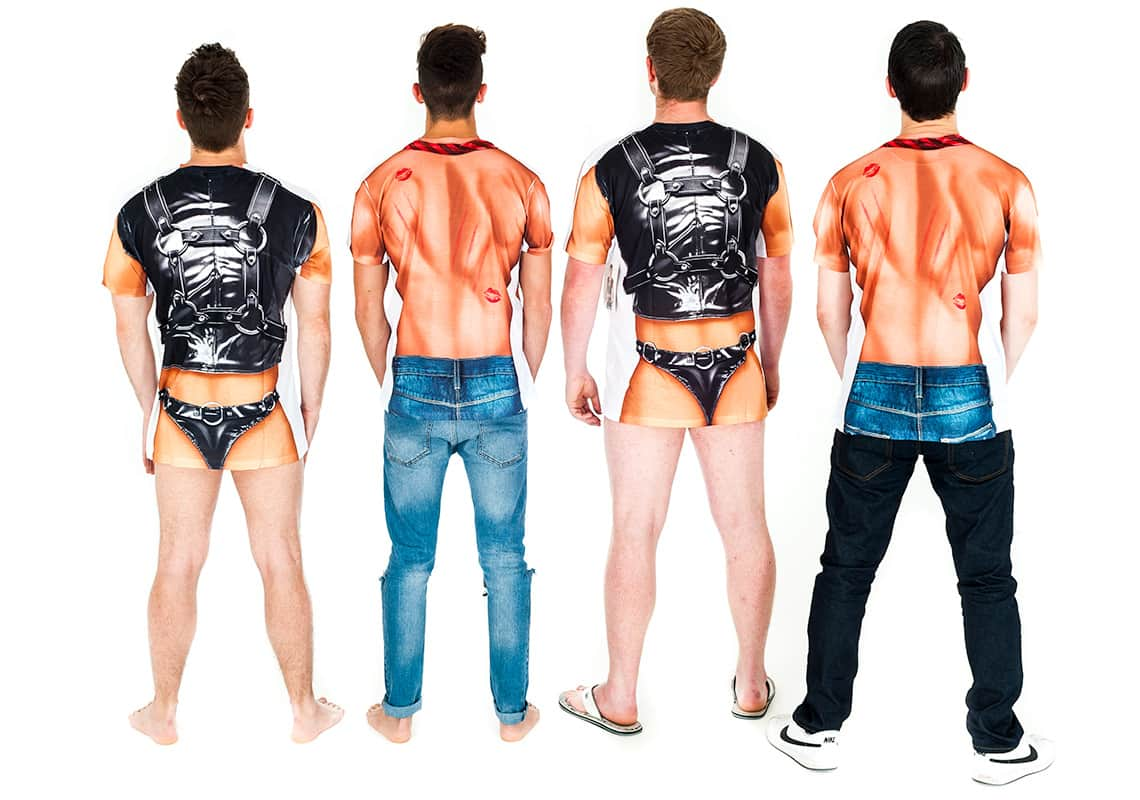 back shot of four men in rude bondage T-shirts