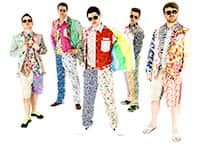 five men in hideous floral and paisley outfits