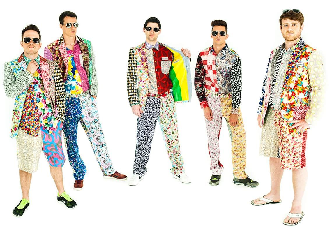 five men in revolting clashing patterned outfits