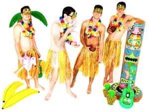 Four men in Hawaiian hula costumes and posing with accessories