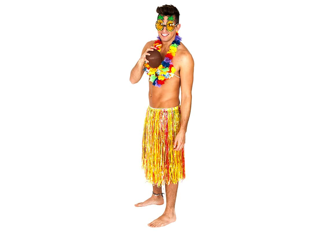 a pretty hula girl man drinking from a coconut