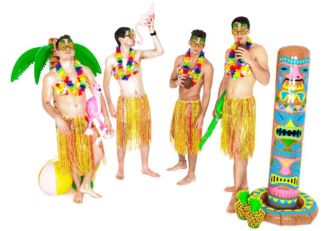 four men dressed as hula girls drinking exotic drinks from a pink flamingo bong