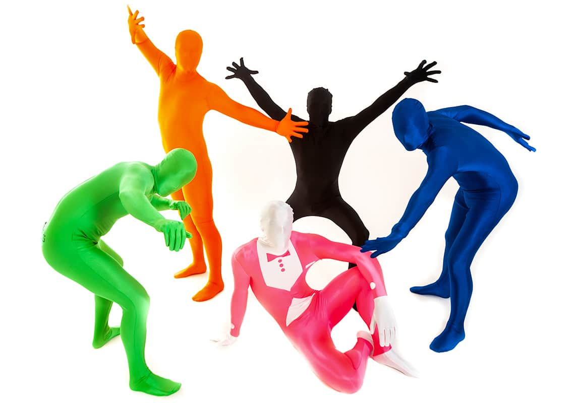stag group in bright morphsuits