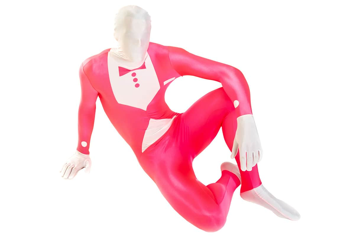 man in a pink tuxedo morphsuit