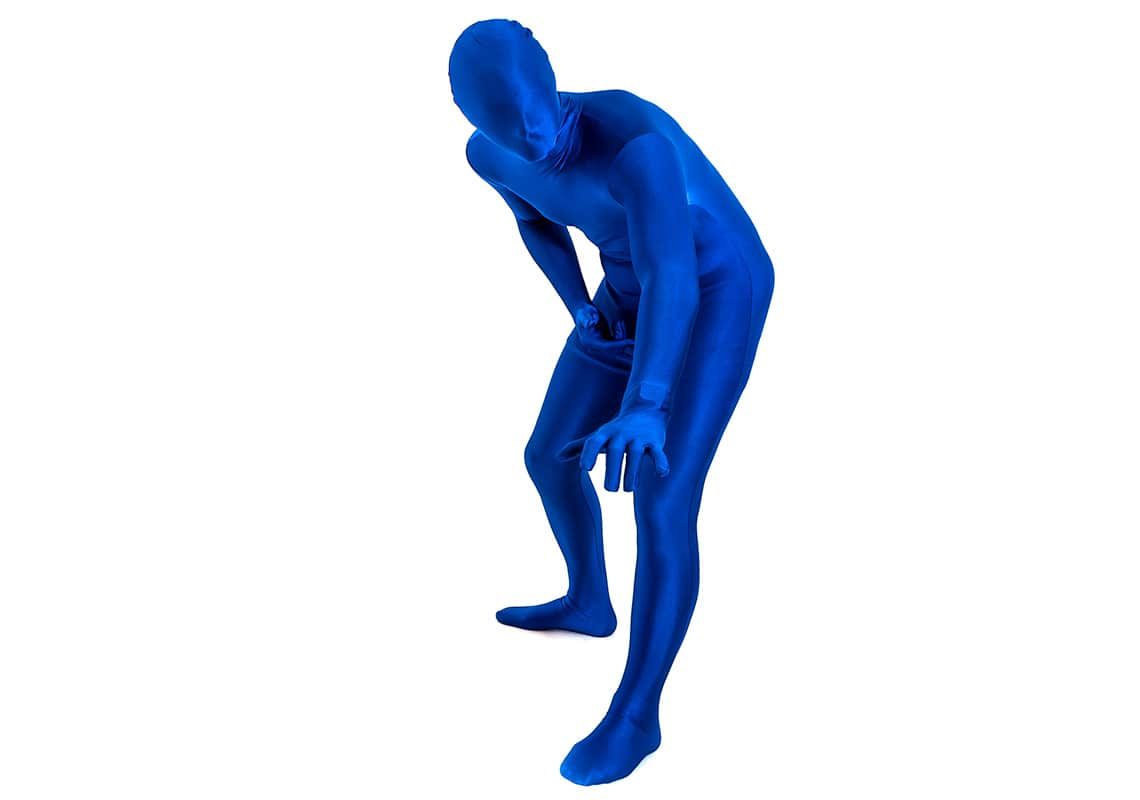 man in an electric blue morphsuit